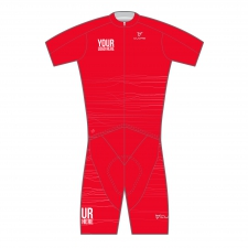 GOLD WOMEN TRIATHLON S/SLEEVE TWO IN ONE TRI CUSTOM SUIT RED